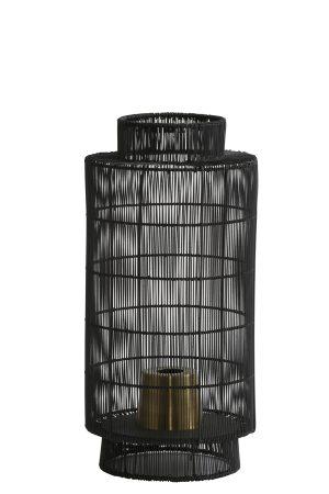 Tafellamp lantaarn Ø24x52 cm GRUARO draad zwart-antiek brons