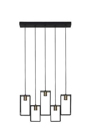 Hanglamp 5L 60x15x130 cm MARLEY mat zwart