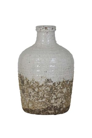Pot deco Ø23x36 cm ASAMA keramiek wit naturel