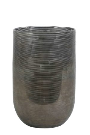 Vaas Ø20x30 cm TALLEGNA glas donker grijs