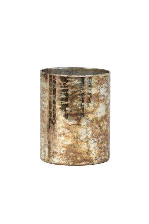 Theelicht Ø12x15 cm ARCAS glas antiek goud-zilver