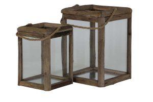 Lantaarn S/2 27x27x39+36x36x49 cm HILO hout+glas