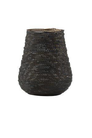 Theelicht Ø12x14 cm BUCOS mat zwart/goud