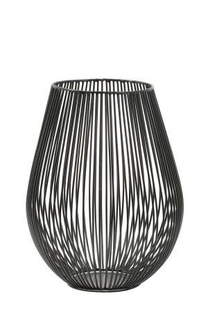Theelicht Ø16x20 cm VENADE mat zwart