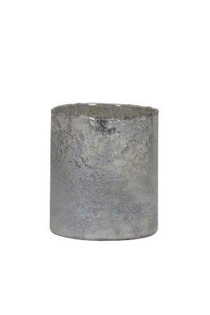 Theelicht Ø8x9 cm NISA mat wit-zilver