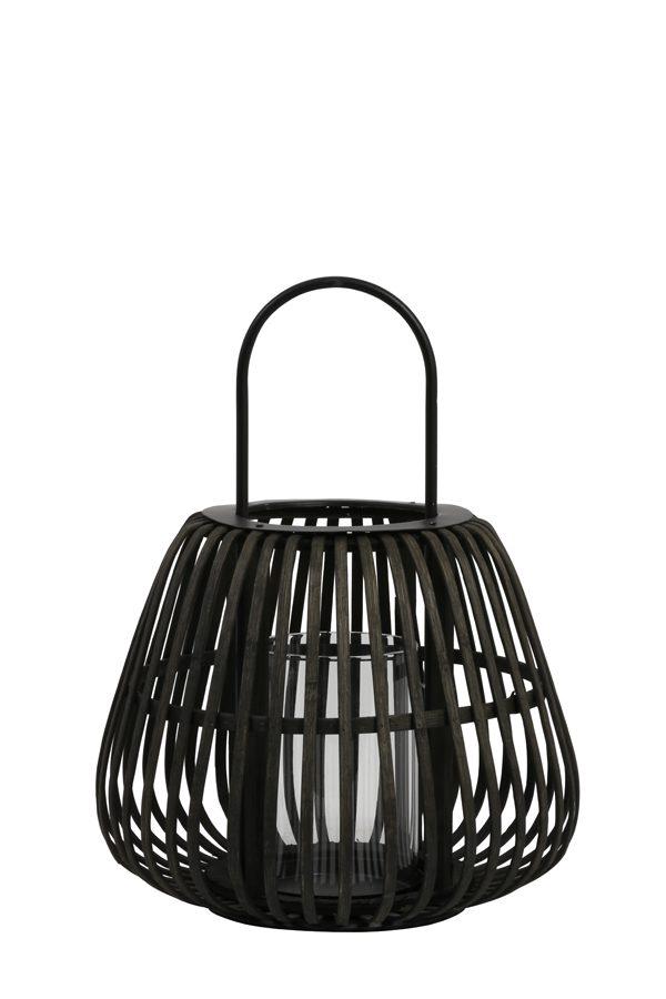 Windlicht Ø29x37 cm MOSTA bamboe zwart met hendel