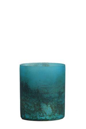 Theelicht Ø8x9 cm VALERIO mat blauw-zwart
