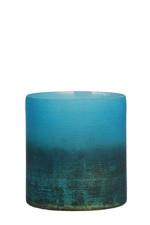 Theelicht Ø10x11 cm VALERIO mat blauw-ox koper