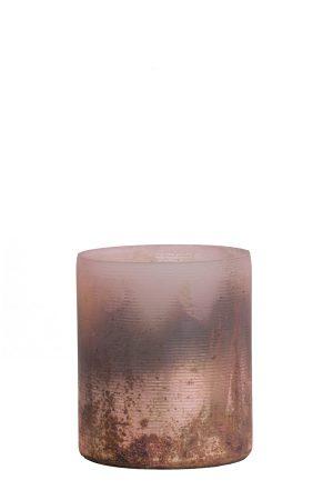 Theelicht Ø8x9 cm VALERIO mat roze-zwart