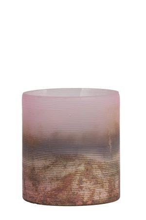 Theelicht Ø10x11 cm VALERIO mat roze-ox koper