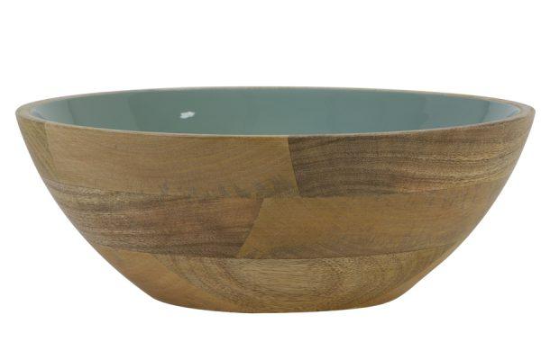 Schaal Ø30x11 cm RANCO groen-hout