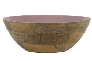 Schaal Ø30x11 cm RANCO roze-hout