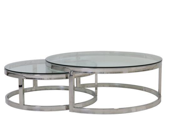 Salontafel S/2 Ø100x35+Ø79x29 cm MILAGRO glas nikkel