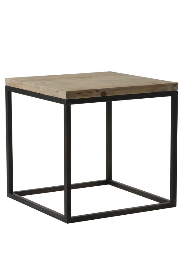 Bijzettafel 40x40x40 cm YARULA zwart+hout