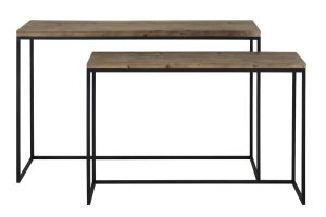 Side table S/2 max 120x40x79 cm CAMASCA metaal zwart+hout