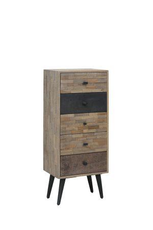 Kast 45x31x110 cm BARICO verweerd hout-antiek grijs
