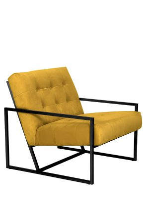 Stoel 71x81x70 cm GENEVE velours oker geel
