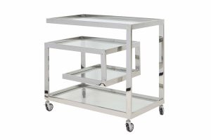 Bar trolley 81x46x77 cm TUNCAY clear glass+nickel