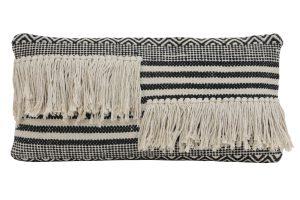 Kussen 60x30 cm YANKOY zwart-wit streepprint met franjes