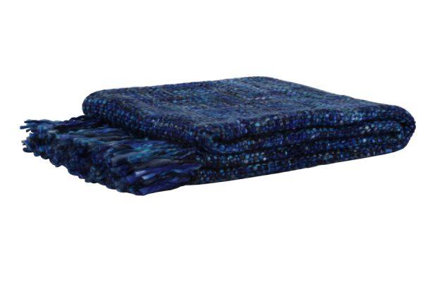 Plaid 125x150 cm ROYKA donker blauw-denim