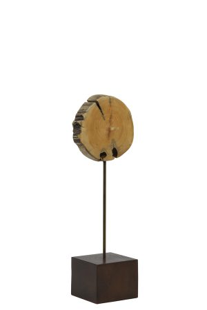 Ornament op voet 15x8x47 cm SEGMI hout naturel bruin
