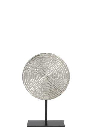 Ornament op voet Ø25x38 cm RAWAS ruw nikkel cirkel-mat zwart
