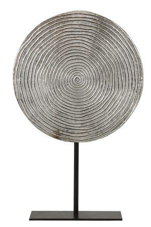 Ornament op voet Ø35x56 cm RAWAS ruw nikkel cirkel-mat zwart