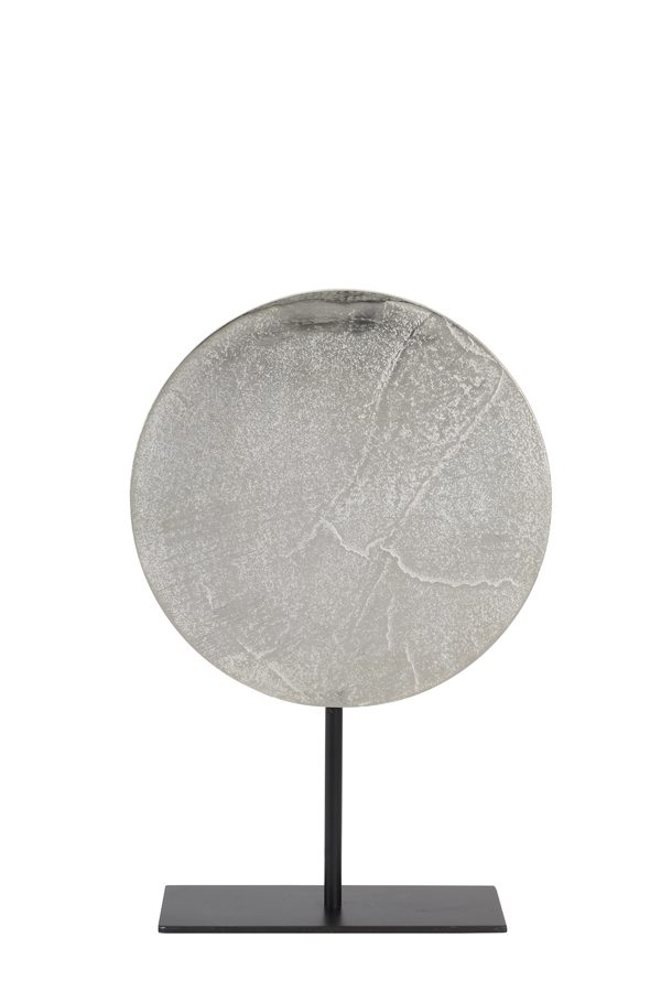 Ornament op voet Ø30x45 cm GASIM ruw nikkel-mat zwart