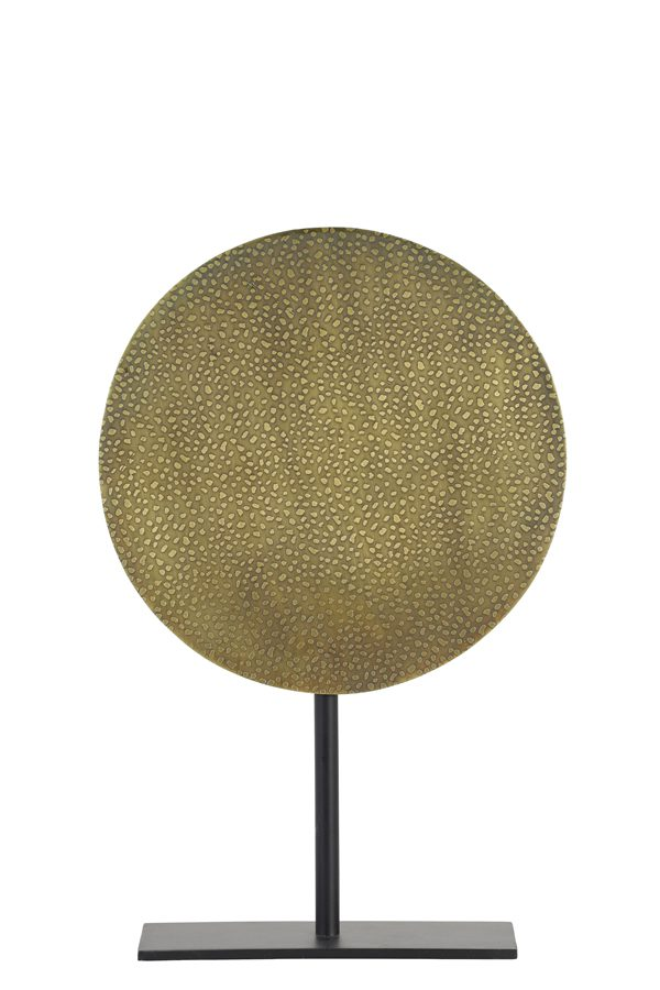 Ornament op voet Ø25x38 cm DASIM antiek brons dots-mat zwart