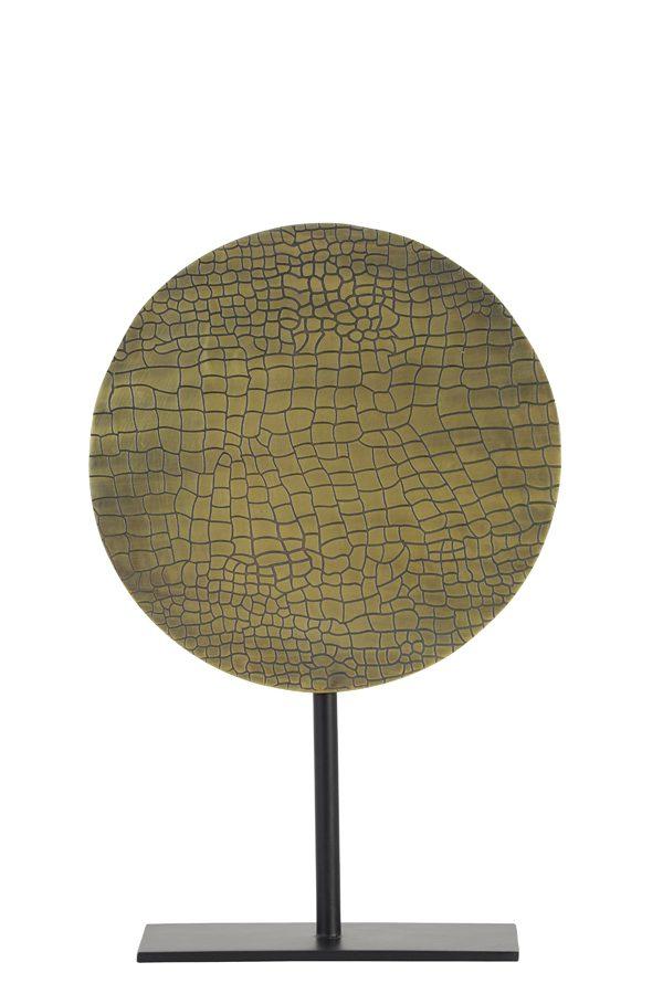 Ornament op voet Ø25x38 cm CASIM ant brons croco-mat zwart