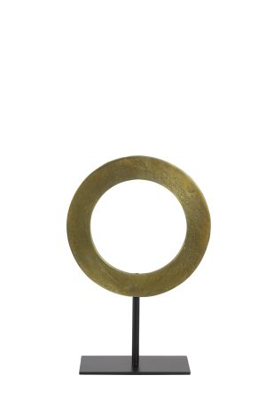 Ornament op voet Ø25x38 cm WAIWO ruw antiek brons-mat zwart