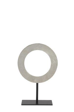 Ornament op voet Ø25x38 cm WAIWO ruw nikkel-mat zwart