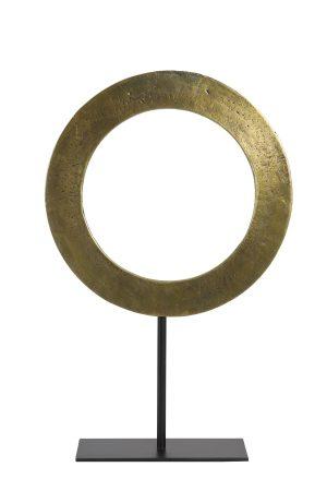 Ornament op voet Ø35x56 cm WAIWO ruw antiek brons-mat zwart