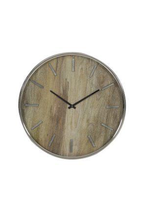 Klok Ø51 cm TIMARU hout+nikkel