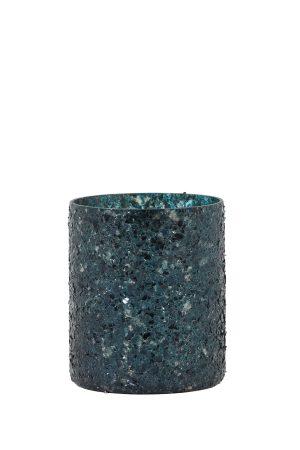 Theelicht Ø7x8 cm ENZO zwart groen