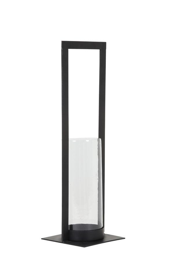 Windlicht 15x15x50 cm JELCO mat zwart+glas
