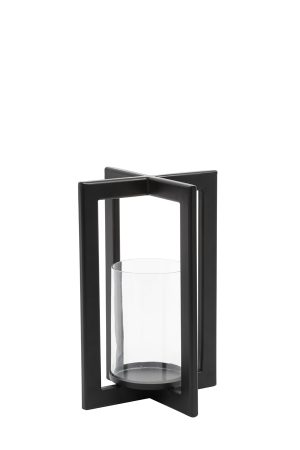 Windlicht 21x21x30 cm MACE mat zwart