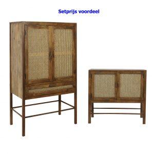 Quality2life.nl 6742684SET Kast hout bruin NIPAS