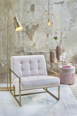 Quality2life.nl 6728195 - Stoel 71x81x70 cm GENEVE velours licht roze+goud