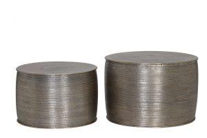 Quality2life.nl 6730623 - Bijzettafel S/2 Ø50x33+Ø60x38 cm ORNE alum.antiek zilver