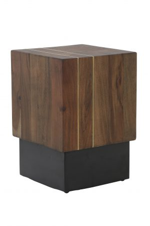 Quality2life.nl 6738183 - Bijzettafel 28x28x40 cm MACUMA hout+zwart