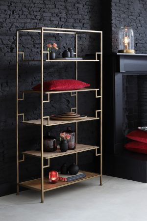 Quality2life.nl 6739585 - Kast open 90x39x174 cm SUTERA goud-hout