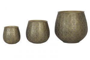 Quality2life.nl 6744586 - Bijzettafel S/3 max Ø60x57 cm CHAUDI antiek goud