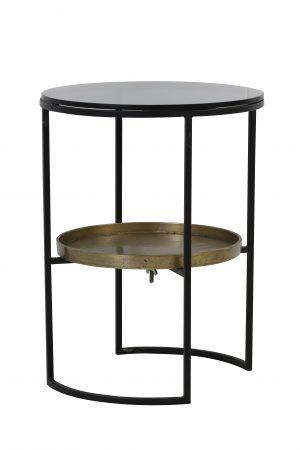 Quality2life.nl 6750912 - Bijzettafel Ø43x57 cm ROWDY glas zwart+antiek brons