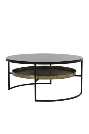 Quality2life.nl 6751012 - Salontafel Ø88x40 cm ROWDY glas zwart+antiek brons