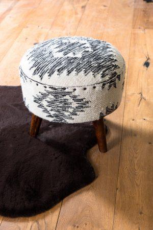 Quality2life.nl Kruk RIMAGO hout zwart-wit Ø40x40cm 6754812