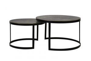 Quality2life.nl 6755018 - Salontafel S/2 Ø62x41+Ø76x46 cm TRELO antiek brons-zwart