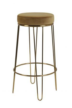 Quality2life.nl Kruk ALICE velvet karamel-goud Ø41x73,5cm 6755461
