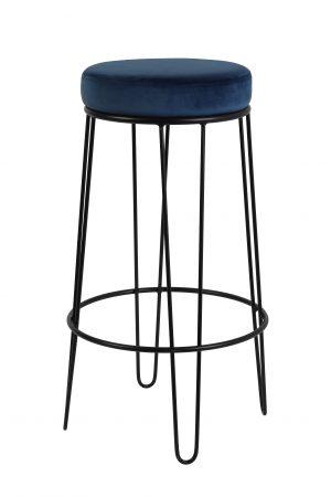 Quality2life.nl Kruk ALICE velvet donkerblauw-zwart Ø41x73,5cm 6755472
