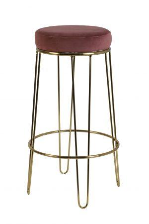 Quality2life.nl Kruk ALICE velvet oudroze-goud Ø41x73,5cm 6755489